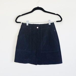 rag & bone Denny Black Suede Mini Skirt